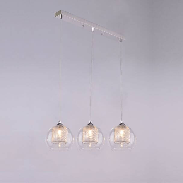 Suspension luminaire boule 3 verres lilas for Suspension boule verre
