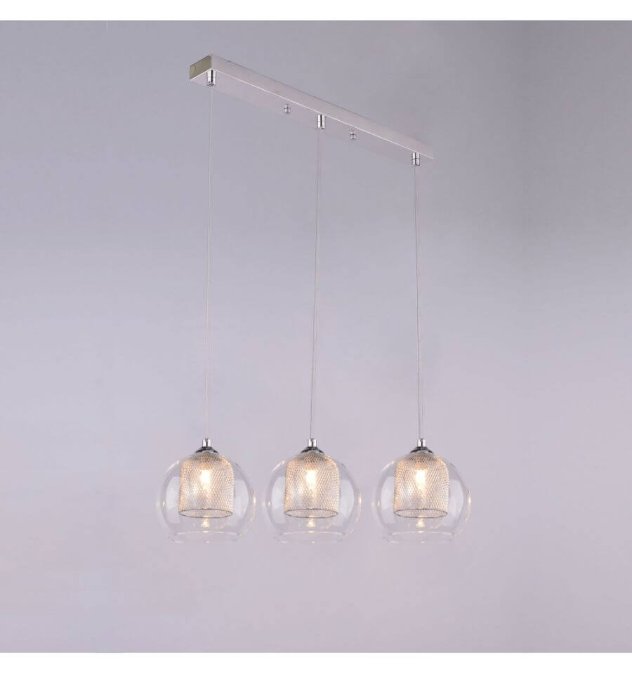 Suspension luminaire boule 3 verres lilas for Lustre suspension triple