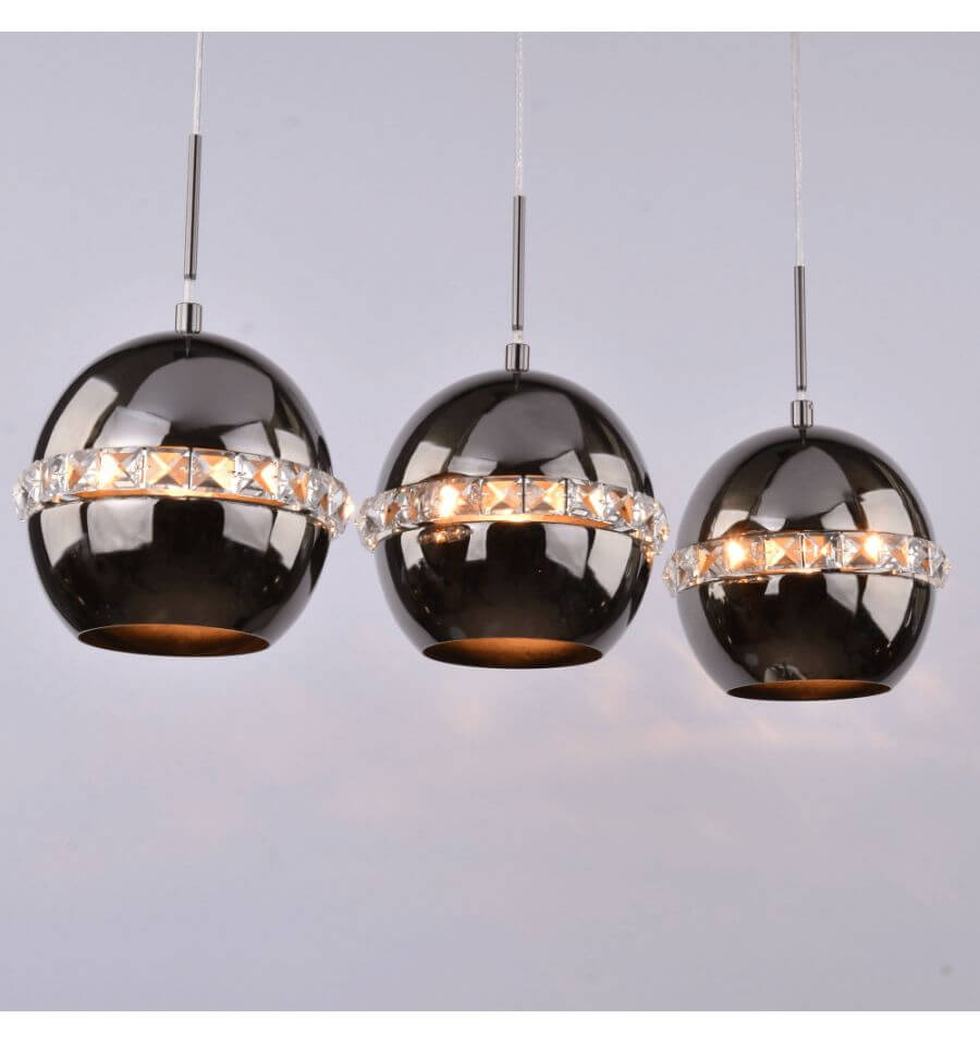 suspension noire cristal triple lampe diadema. Black Bedroom Furniture Sets. Home Design Ideas