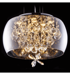 Suspension verre design LED et motifs cristal - Victoria
