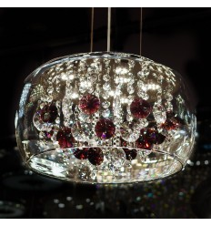 Suspension cristal LED et motifs mauve - Flora