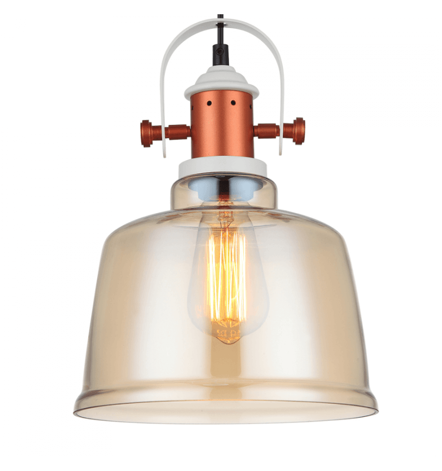Suspension industrielle design en cuivre avec abat jour ambr dalia - Suspension type industriel ...