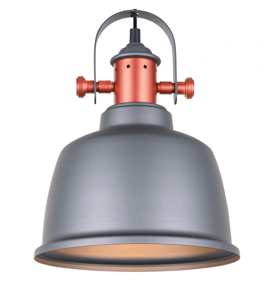 Suspension vintage contemporaine en cuivre avec abat jour gris dalia - Suspension type industriel ...