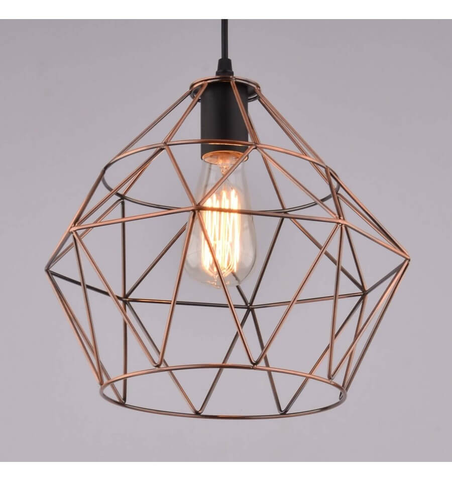 Suspension cuivre cage cope for Soldes suspension luminaire