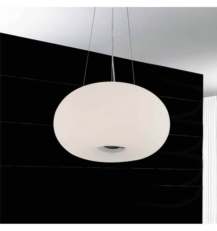 Suspension ovale blanche verre blanc e27 alpha for Suspension blanche design