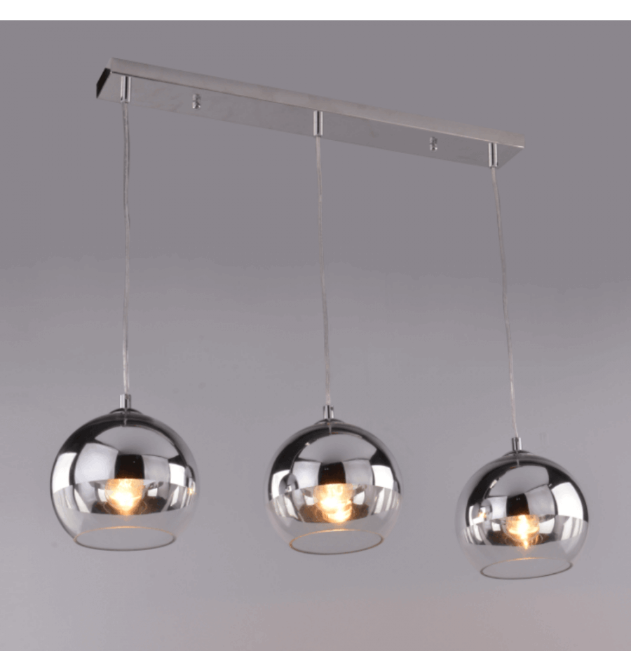 Suspension triple chrom e et transparente e27 chicago for Suspension luminaire en verre transparent