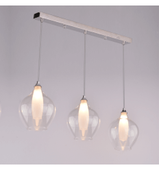 Suspension scandinave design avec abat jour en lamelles de for Suspension verre transparent