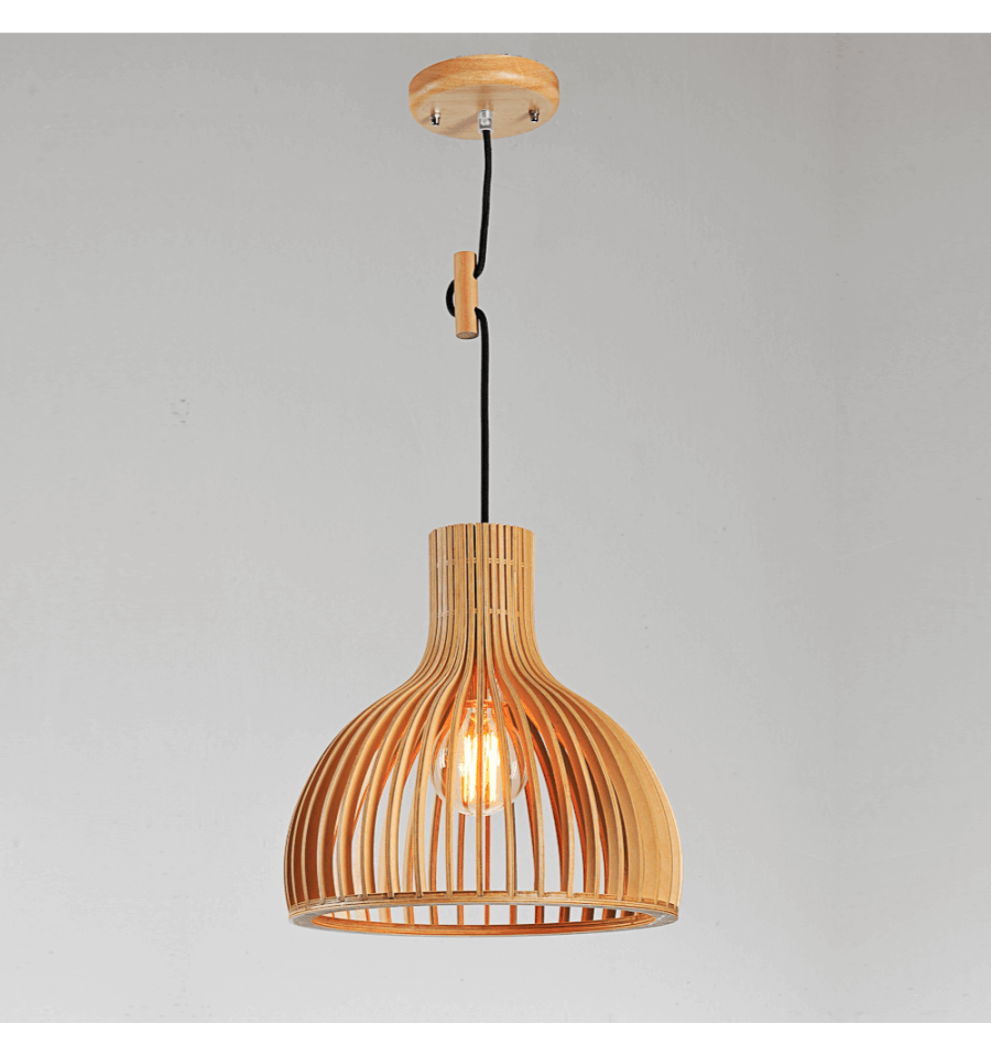 Suspension scandinave design avec abat jour en lamelles de for Suspension bois