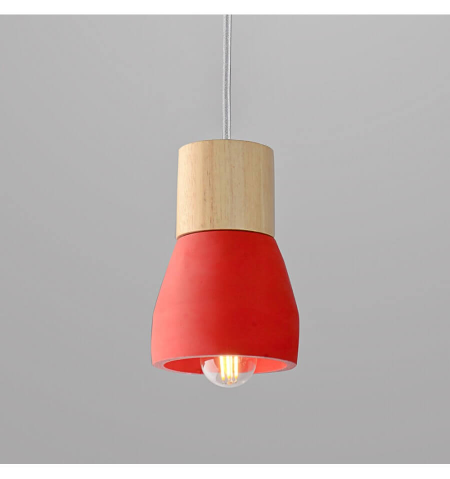 Suspension en b ton style scandinave rouge achat for Suspension bois luminaire