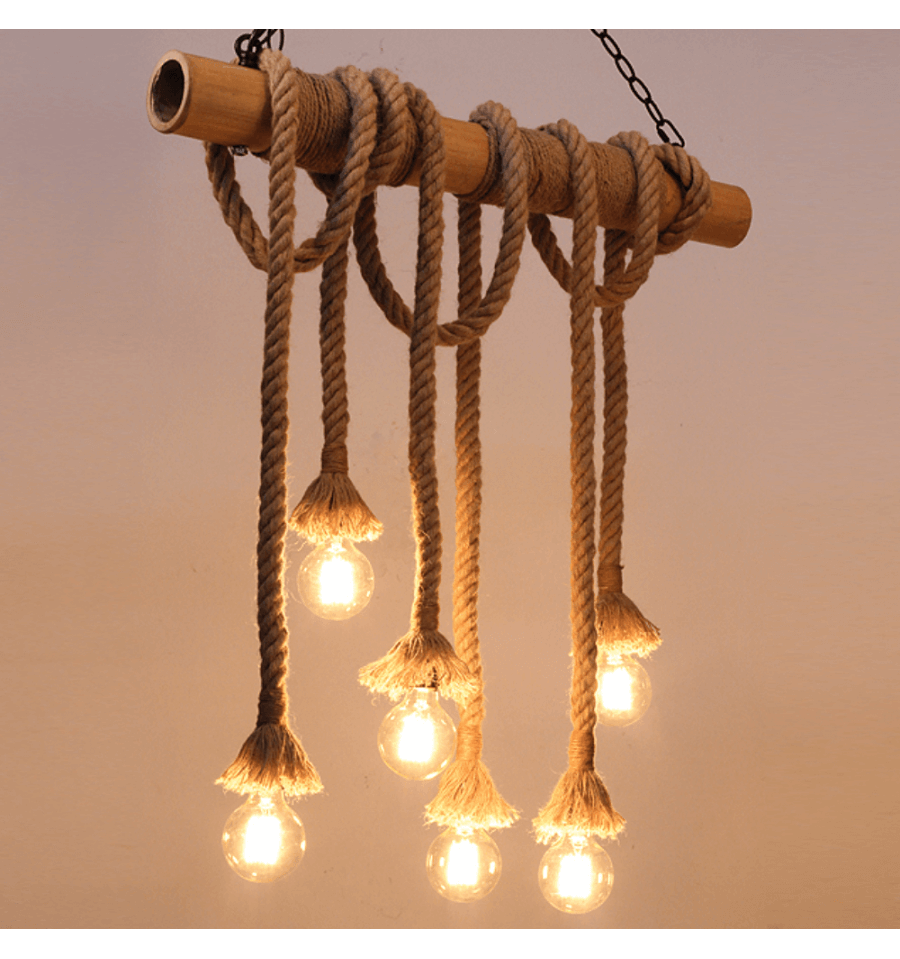 Suspension bambou rustique 6 cordes zephyr for Suspension bois luminaire