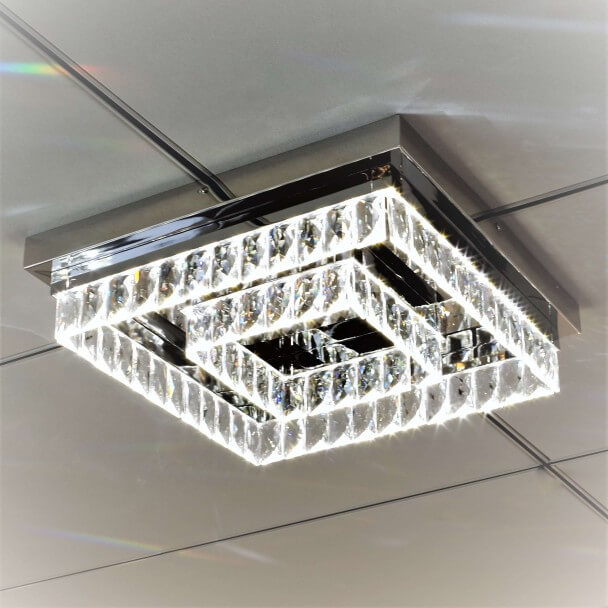 Led 42 Plafonnier Moderne Cristal Carré Million Cm 0NOwP8nkX
