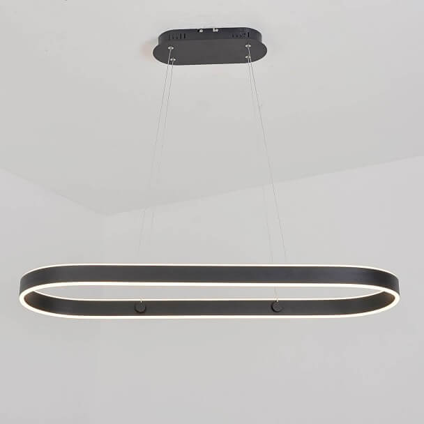 Suspension à bordure lumineuse LED design noir - Apollo